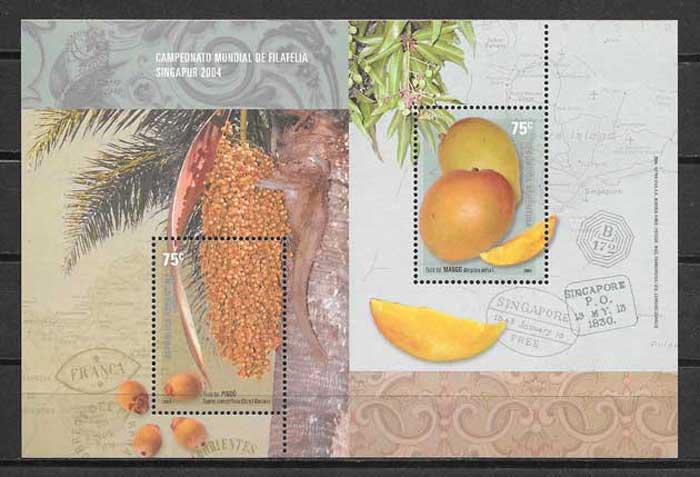 filatelia colección frutas y verduras Argentina 2004
