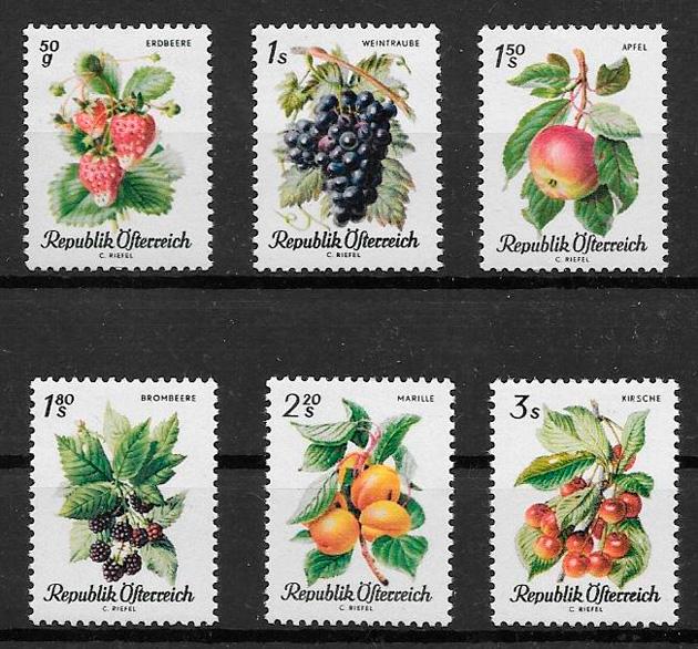 sellos frutas Austria 1966