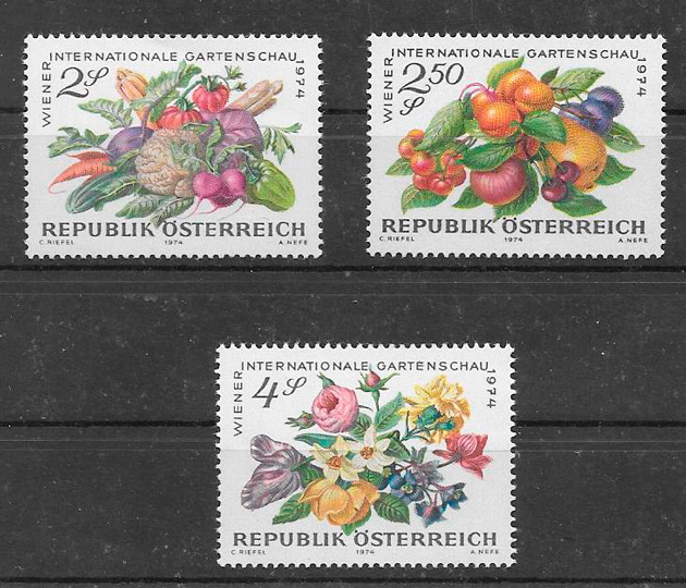 filatelia frutas Austria 1974