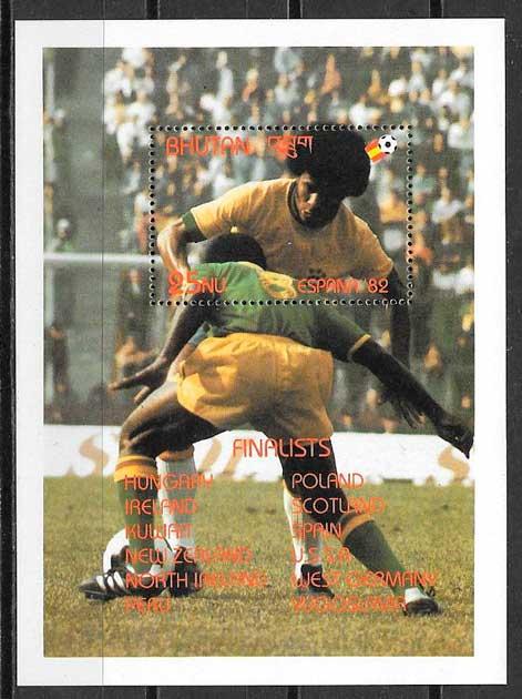 colección sellos fútbol Bhutan 1982
