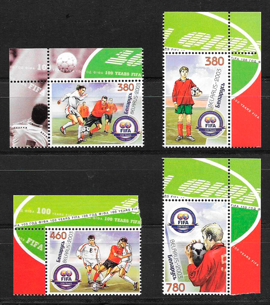 filatelia colección fútbol Bielorrusia 2003
