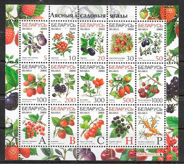 filatelia colección frutas Bielorrusia 2004