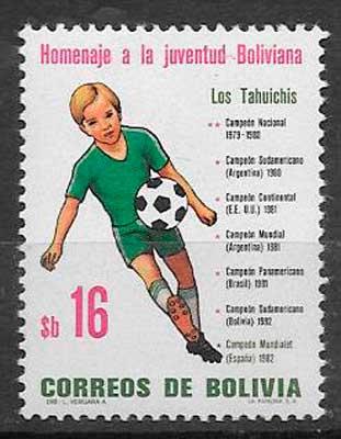 sellos colección futbol Bolivia 1982