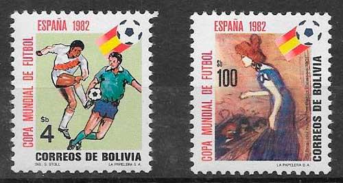 colección sellos fútbol Bolivia 1982