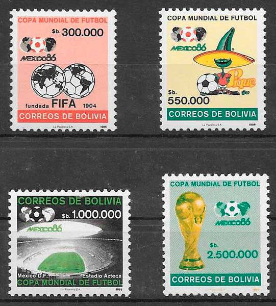 filatelia futbol Bolivia 1986