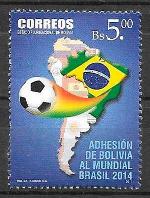 sellos colección futbol Bolivia 2014