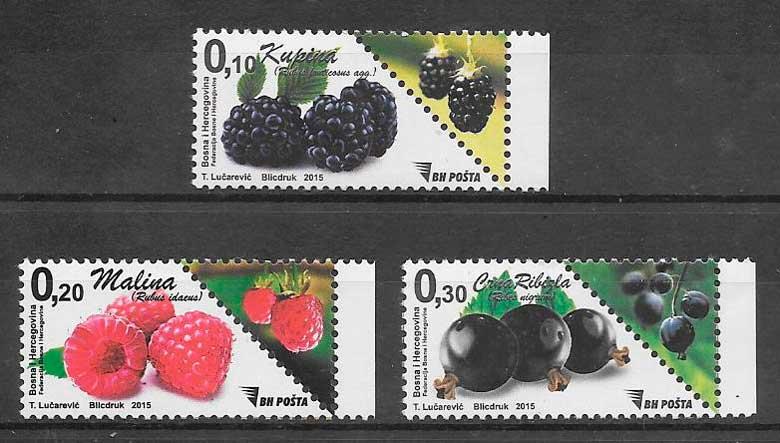 colección sellos frutas Bosnia Herzegovina 2012