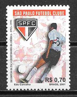 filatelia colección fútbol Brasil 2001