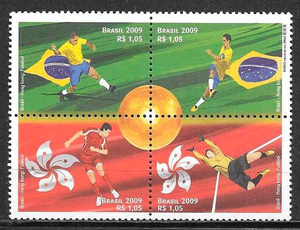 filatelia colección fútbol Brasil 2009