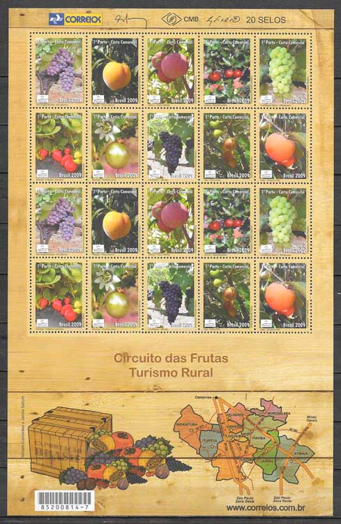 filatelia colección frutas Brasil 2009
