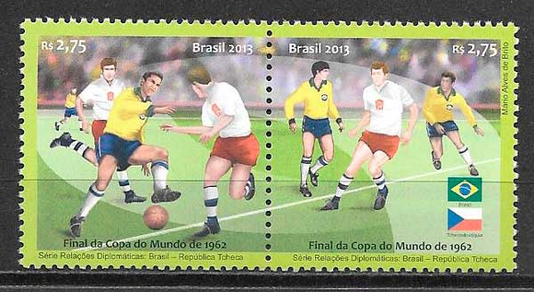 colección sellos fútbol Brasil 2013