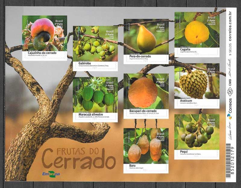 filatelia colección frutas Brasil 2016