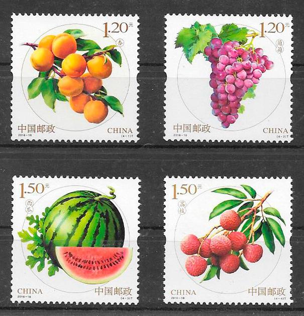 colección sellos frutas y verduras China 2016