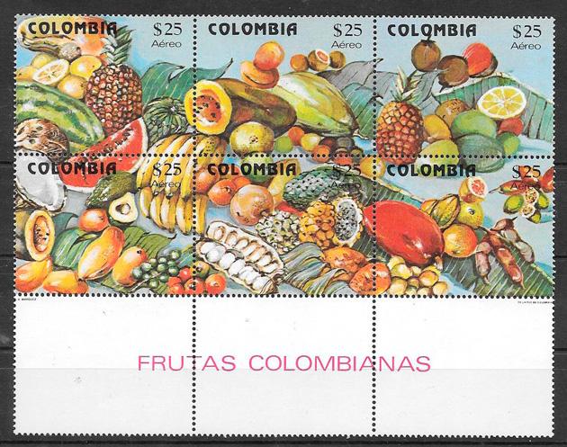 filatelia colección frutas Colombia 1981