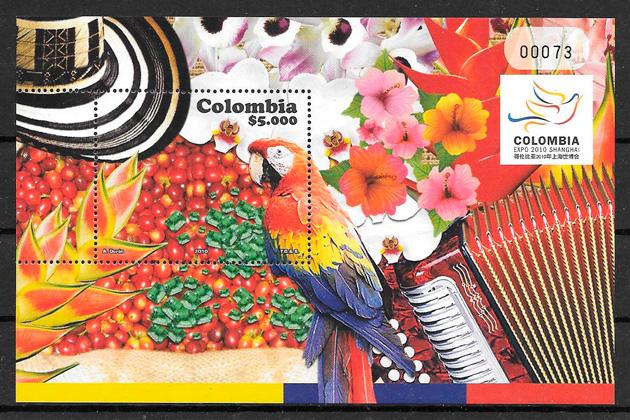 filatelia colección frutas Colombia 2010