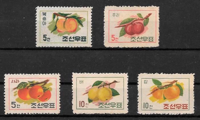 colección sellos frutas Corea del Norte 1961