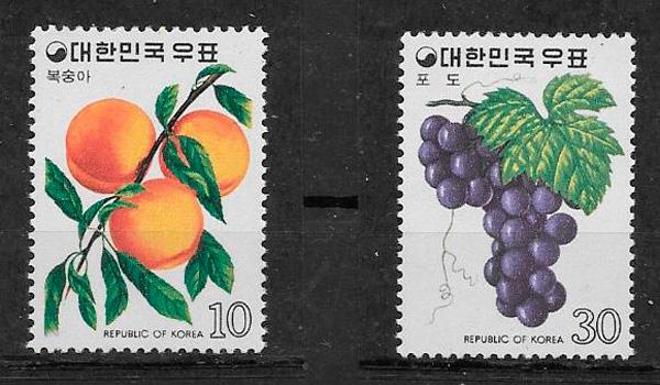 filatelia colección frutas Corea del Sur 1974