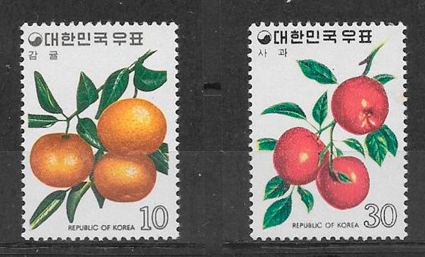 sellos frutas Corea del Sur 1974