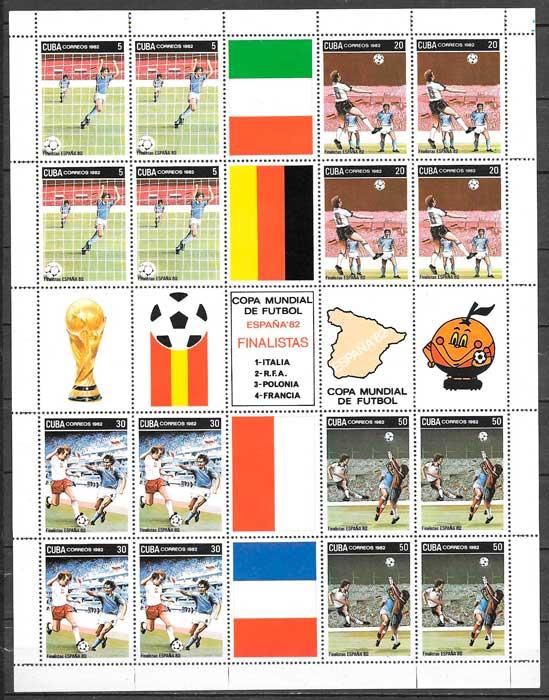 sellos fútbol Cuba 1982