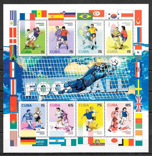 sellos fútbol Cuba 2002