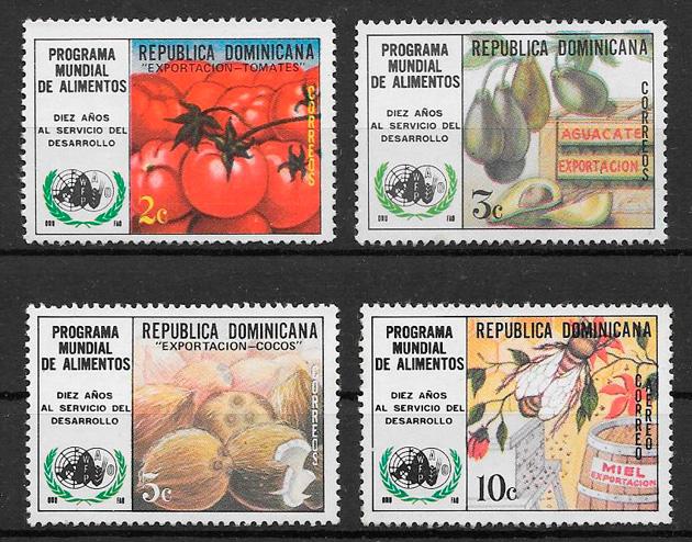 sellos frutas Dominicana 1974