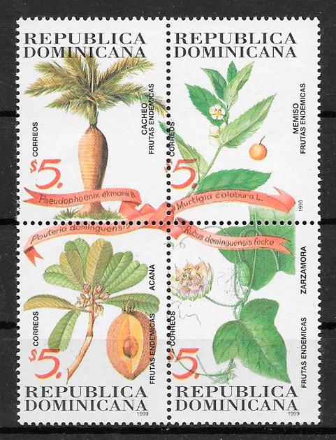 colección sellos frutas Dominicana 1999