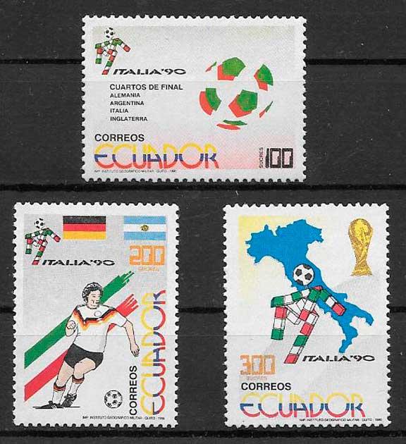 filatelia colección fútbol 1990 Ecuador