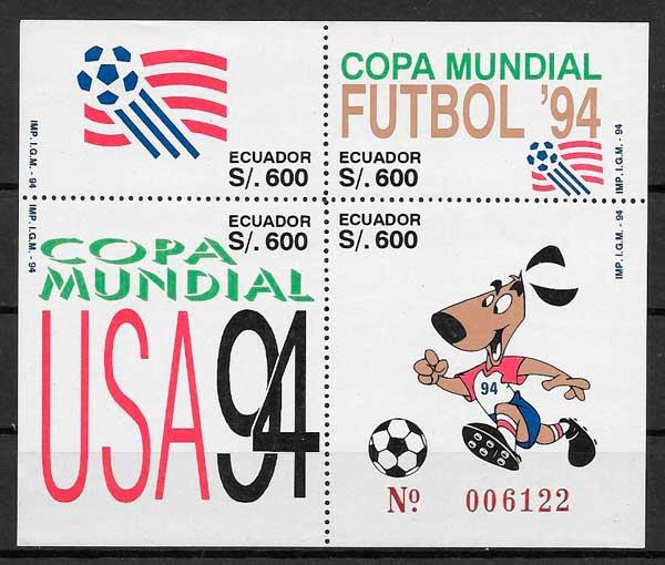 filatelia colección fútbol 1994 Ecuador