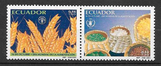 filatelia frutas y verduras Ecuador 2001