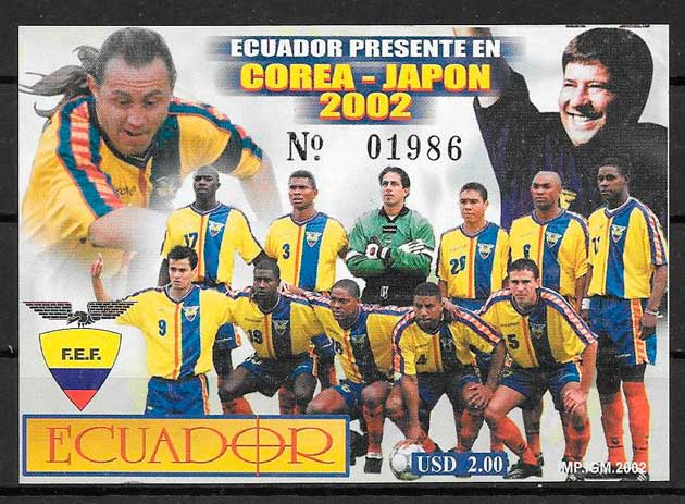 filatelia fútbol Ecuador 2002