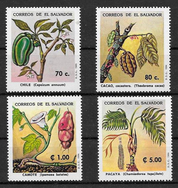 filatelia colección frutas el Salvador