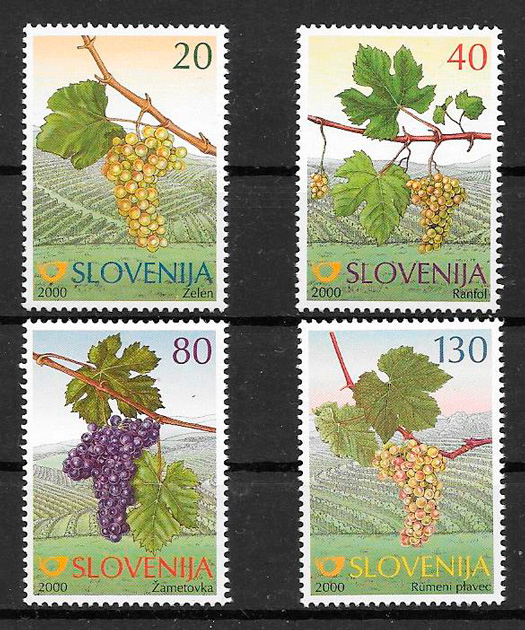 filatelia colección frutas Eslovenia