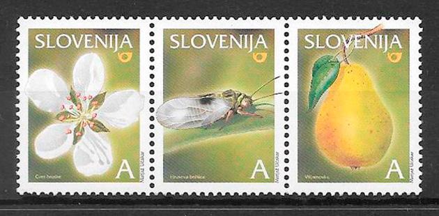 filatelia frutas Eslovenia 2004