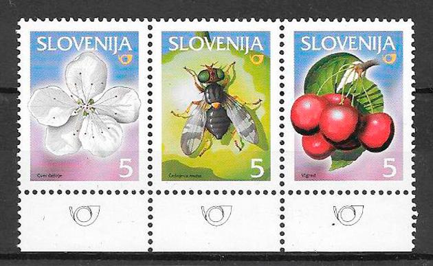 filatelia colección frutas Eslovenia 2005