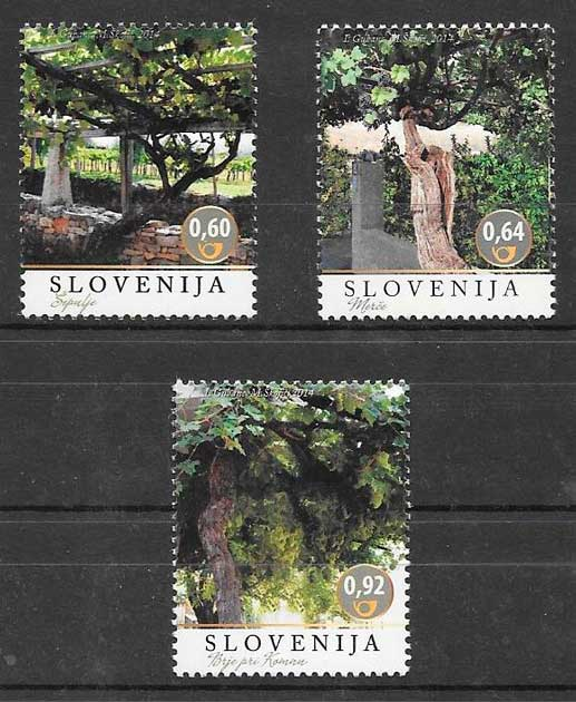 filatelia colección frutas y verduras Eslovenia 2014