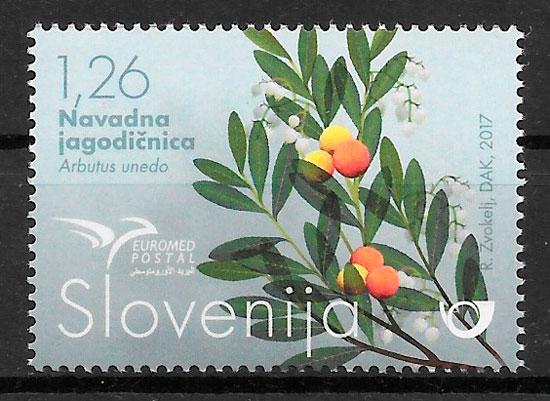 filatelia colección frutas Eslovenia 2017
