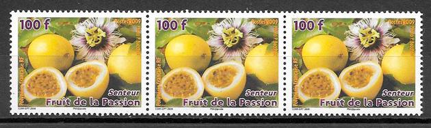 filatelia colección frutas Polinesia Francesa 2009