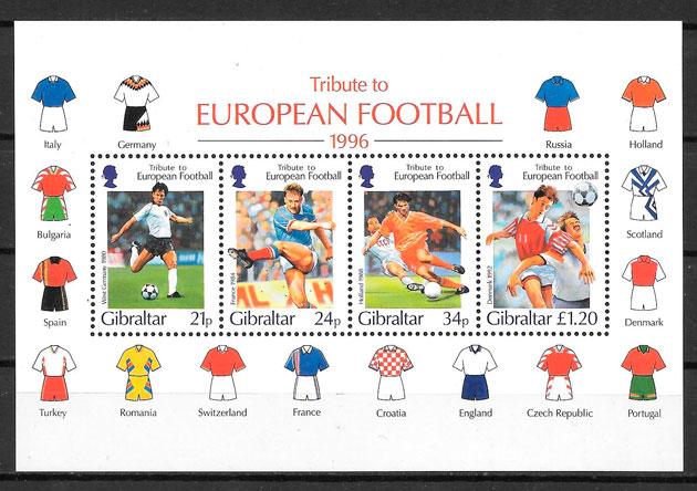 filatelia colección fútbol Gibraltar 1996