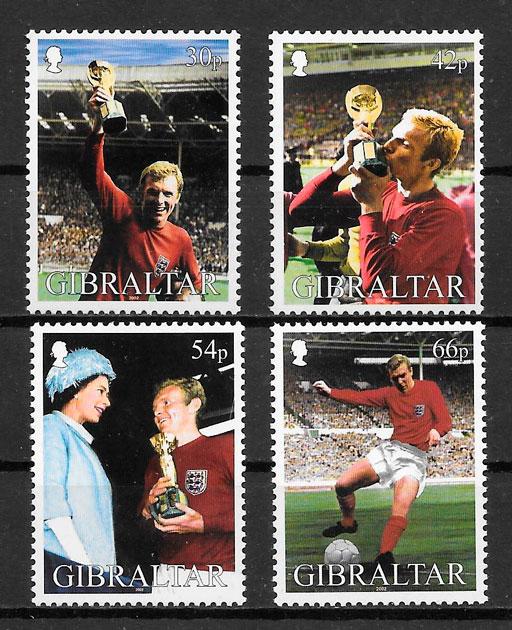 colección sellos fútbol Gibraltar 2002