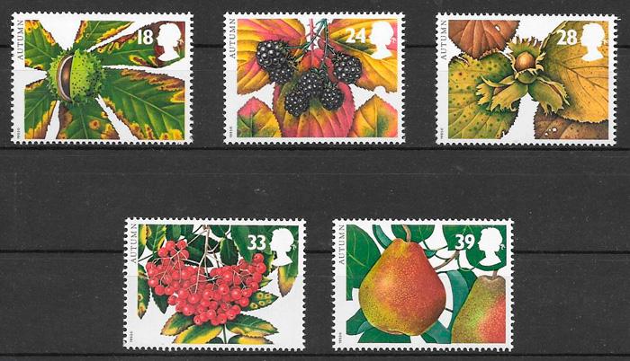 filatelia frutas Gran Bretana 1993