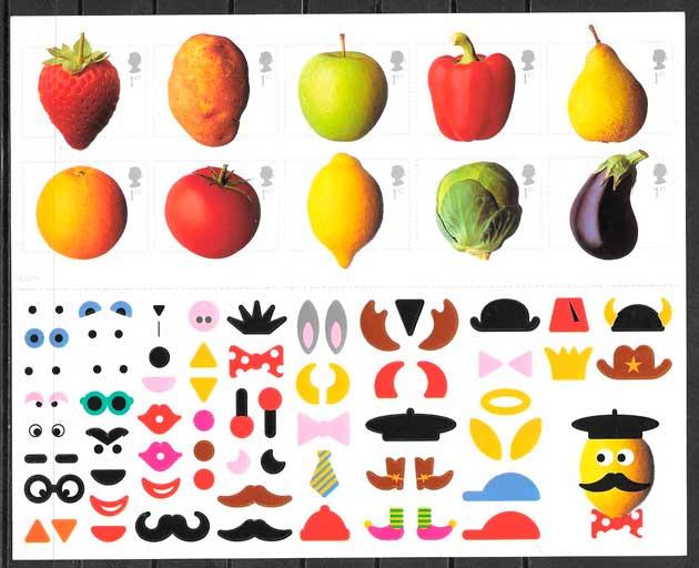 fialatelia coleccion frutas Gran Bretana 2006