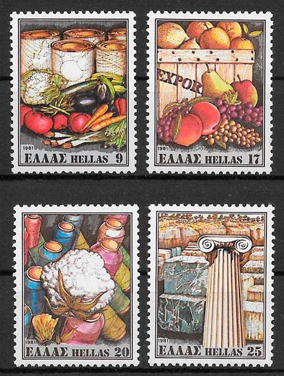 colección sellos frutas Grecia 1980
