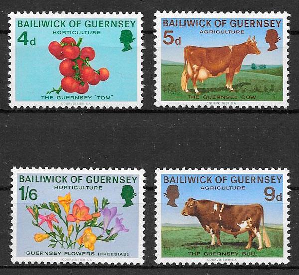 selos 1970 frutas Guernsey