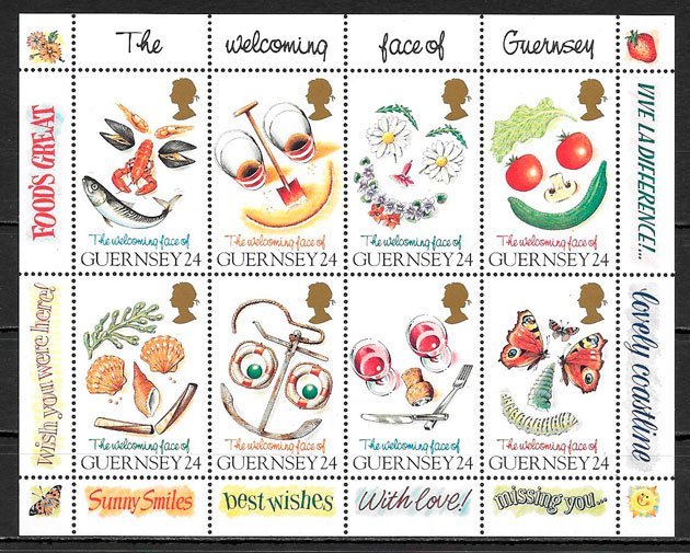 colección sellos frutas Guernsey 1995