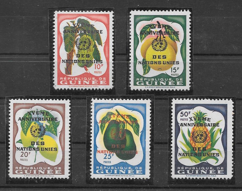 filatelia colección frutas Guinea 1961