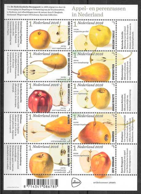 filatelia colección frutas y verduras Holanda 2016