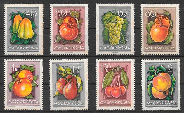filatelia colección frutas Hungría 1954