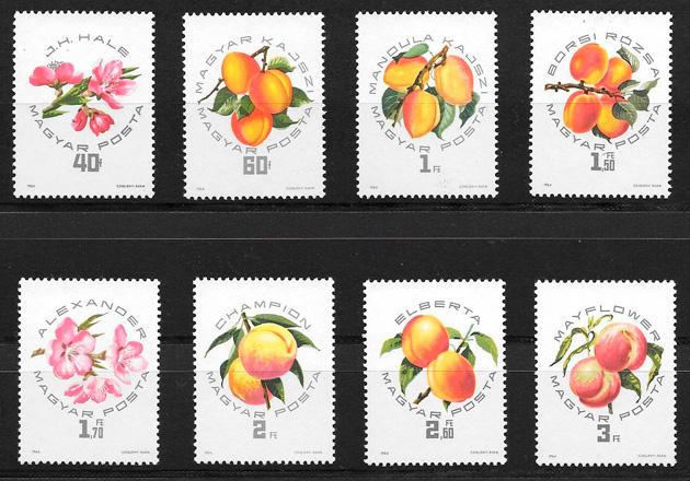 colección sellos frutas Hungría 1964