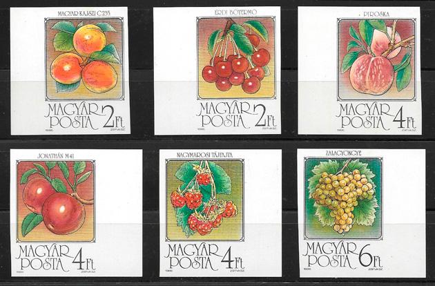 sellos frutas Hungría 1986