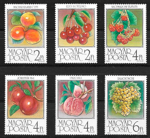 filatelia colección frutas Hungría 1986